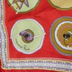 Hermes Red Belles du Mexique Silk Scarf
