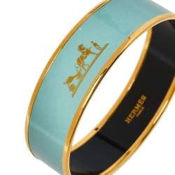 Hermès Sage Green Enamel Calèche Gold Plated Wide Bangle Bracelet