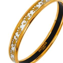 Hermès Balcons du Guadalquivir White Enamel Gold Plated Narrow Bangle