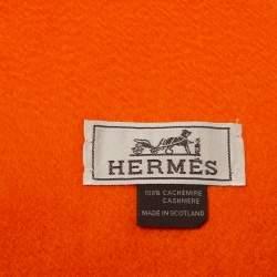Hermes Orange Fringe Detail Cashmere Stole