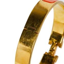 Hermès Clic H Orange Enamel Gold Plated Narrow Bracelet PM