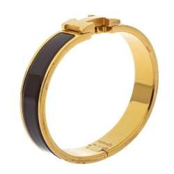 Hermès Clic H Brown Enamel Gold Plated Narrow Bracelet PM