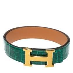 Hermes Cactus Porosus Crocodile Constance Polished Gold Plated H Buckle Belt 85CM