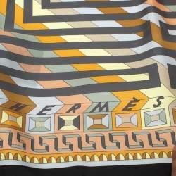 Hermes Grey Le Fil D'Ariane Silk Square Scarf