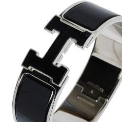 Hermès Clic Clac H Black Enamel Palladium Plated Wide Bracelet GM