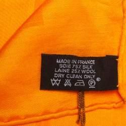 Hermes Orange Faconnee Grand H Jacquard Silk & Wool Scarf