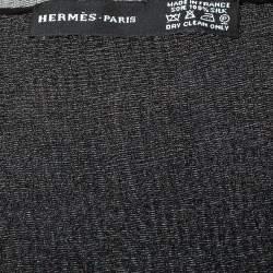 Hermes Black Hologram Motif Silk Chiffon Stole