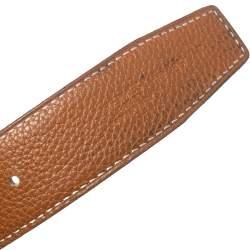 Hermes Gold/Noir Togo and Swift Leather Constance Reversible Belt 85CM