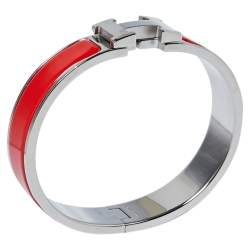 Hermès Clic H Coral Red Enamel Palladium Plated Narrow Bracelet PM