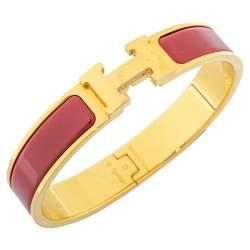 Hermès Clic H Red Enamel Gold Plated Narrow Bracelet PM