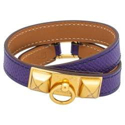 Hermès Purple Leather Gold Plated Rivale Double-Tour Bracelet S