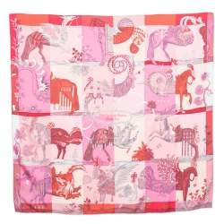 Hermes Pink Della Cavalleria Favolosa Silk Scarf