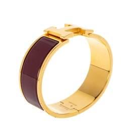 Hermès Clic Clac H Rouge Enamel Gold Plated Wide Bracelet PM