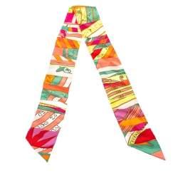 Hermes Multicolor Rose Corail Vert Fluo Astrologie Silk Twilly