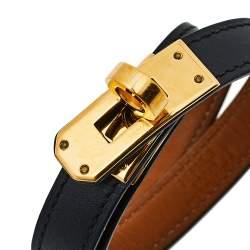 سوار هيرمس كيلي دبل تور حلية مطلية بالذهب جلد أسود M