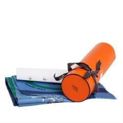 Hermes Blue Tout en Carre Chevron Silk Maxi Twilly Cut Scarf