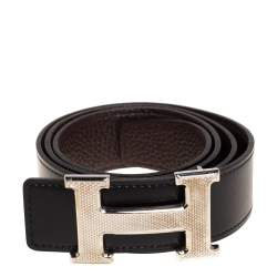 Hermes Black/Cacao Box Calf and Togo Leather Guillochee H Buckle Reversible Belt 80CM