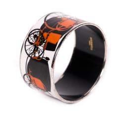 Hermes Extra Wide Printed Enamel Bracelet 70 CM
