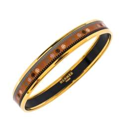 Hermès Orange Printed Enamel Gold Plated Bangle Bracelet