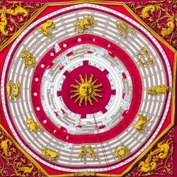 Hermes Pink & Red Dies et Hore Silk Square Scarf