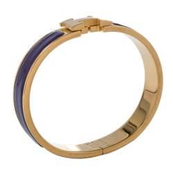 Hermès Clic H Purple Enamel Gold Plated Narrow Bracelet PM