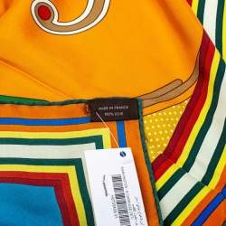 Hermes Multicolor Washington's Carriage Detail Washed Silk Square Scarf