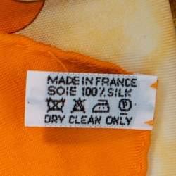Hermes Orange Paris Les Triples Silk Scarf