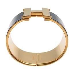 Hermès Clic Clac H Black Enamel Gold Plated Extra Wide Bracelet PM