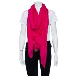 Hermès Pink Logo Printed Feather Light Cashmere & Silk Square Shawl