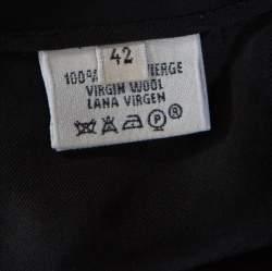 Hermes Black Wool Fold Over Front Pencil Skirt L