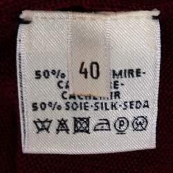 Hermès Burgundy Cashmere Silk Button Front Cardigan M