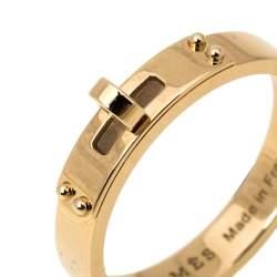 Hermes Kelly 18K Rose Gold Narrow Ring Size 53
