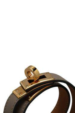 Hermes Grey Leather Kelly Double Tour Bracelet