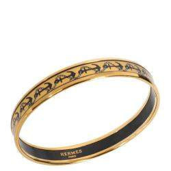 Hermes 18k Yellow Gold-Plated Narrow Enamel Bangle