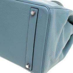 Hermes Ciel Clemence Leather Palladium Hardware Birkin 40 Bag