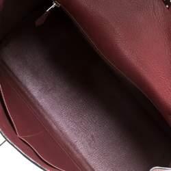 Hermes Bordeaux Togo Leather Palladium Hardware Kelly Retourne 35 Bag