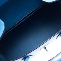 Hermes Blue Paradise Epsom Leather Palladium Hardware Birkin 30 Bag