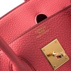 Hermes Bougainvillier Clemence Leather Gold Hardware Birkin 35 Bag