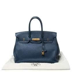 Hermes Blue De Malte Togo Leather Gold Hardware Birkin 35 Bag