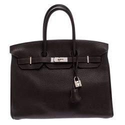 Hermes Ebene Togo Leather Palladium Hardware Birkin 35 Bag