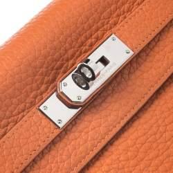 Hermes Potiron Clemence Leather Palladium Hardware Kelly Retourne 28 Bag