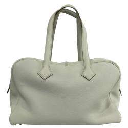 Hermes Ivory Clemence Leather Victoria II 35 Bag
