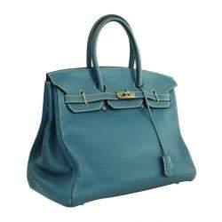 Hermes Thalassa Blue Taurillon Clemence Leather Palladium Hardware Birkin 35 Bag