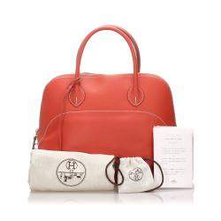 Hermes Orange Leather Bolide 35 Bag