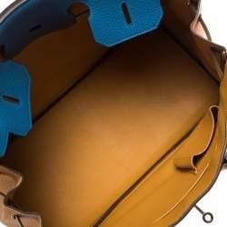 Hermes Blue Hydra/Jaune d'Or Clemence Leather Special Order Birkin 35 Bag