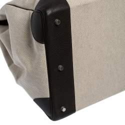Hermes Beige Canvas and Ebene Clemence Leather Palladium Hardware HAC Birkin 50 Bag