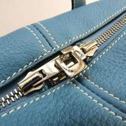 Hermes Blue Jean Toile And Leather Victoria Bag