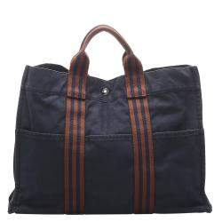 Hermes Brown Canvas Fourre Tout MM Tote Bag