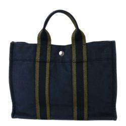 Hermes Navy Blue/Green Canvas Herline PM Tote Bag