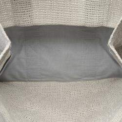 Hermes White Cotton Fabric Cabas de Plage GM Bag